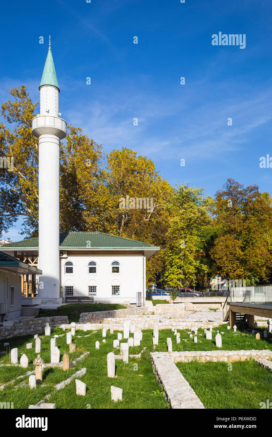 Bosnia and Herzegovina, Sarajevo, Bakr-Baba Mosque and At Mejdan archaeological park - Stock Image