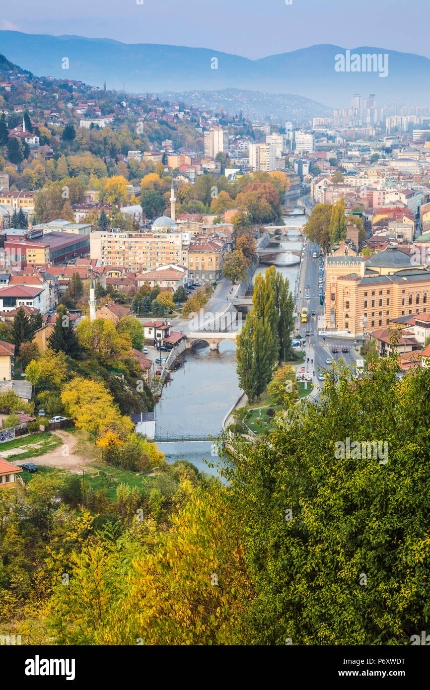 Bosnia and Herzegovina, Sarajevo, View of city and Miljacka River - Stock Image
