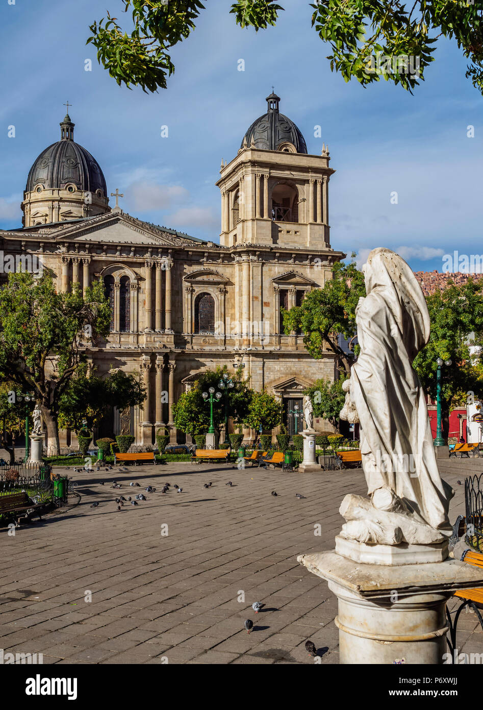Plaza Murillo with Cathedral Basilica of Our Lady of Peace, La Paz, Bolivia - Stock Image