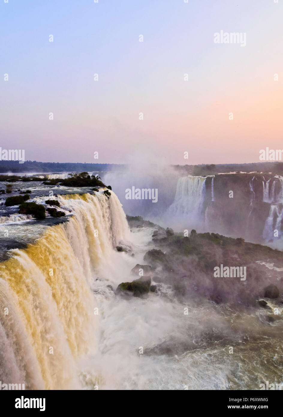 Brazil, State of Parana, Foz do Iguacu, View of Iguazu Falls. - Stock Image