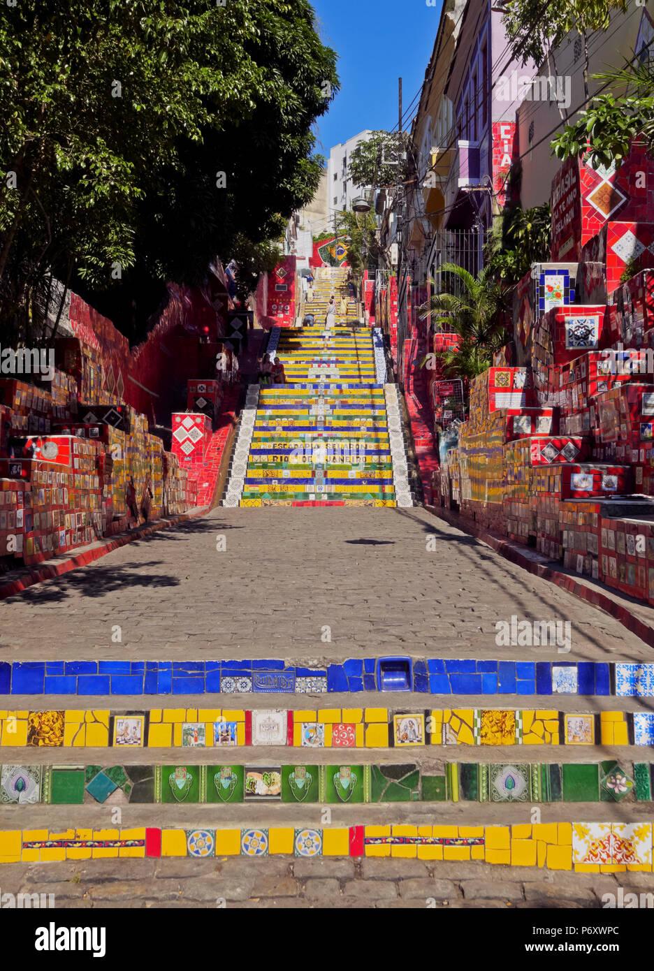Brazil, City of Rio de Janeiro, View of the Selaron Steps connecting Lapa and Santa Teresa Neighbourhoods. - Stock Image