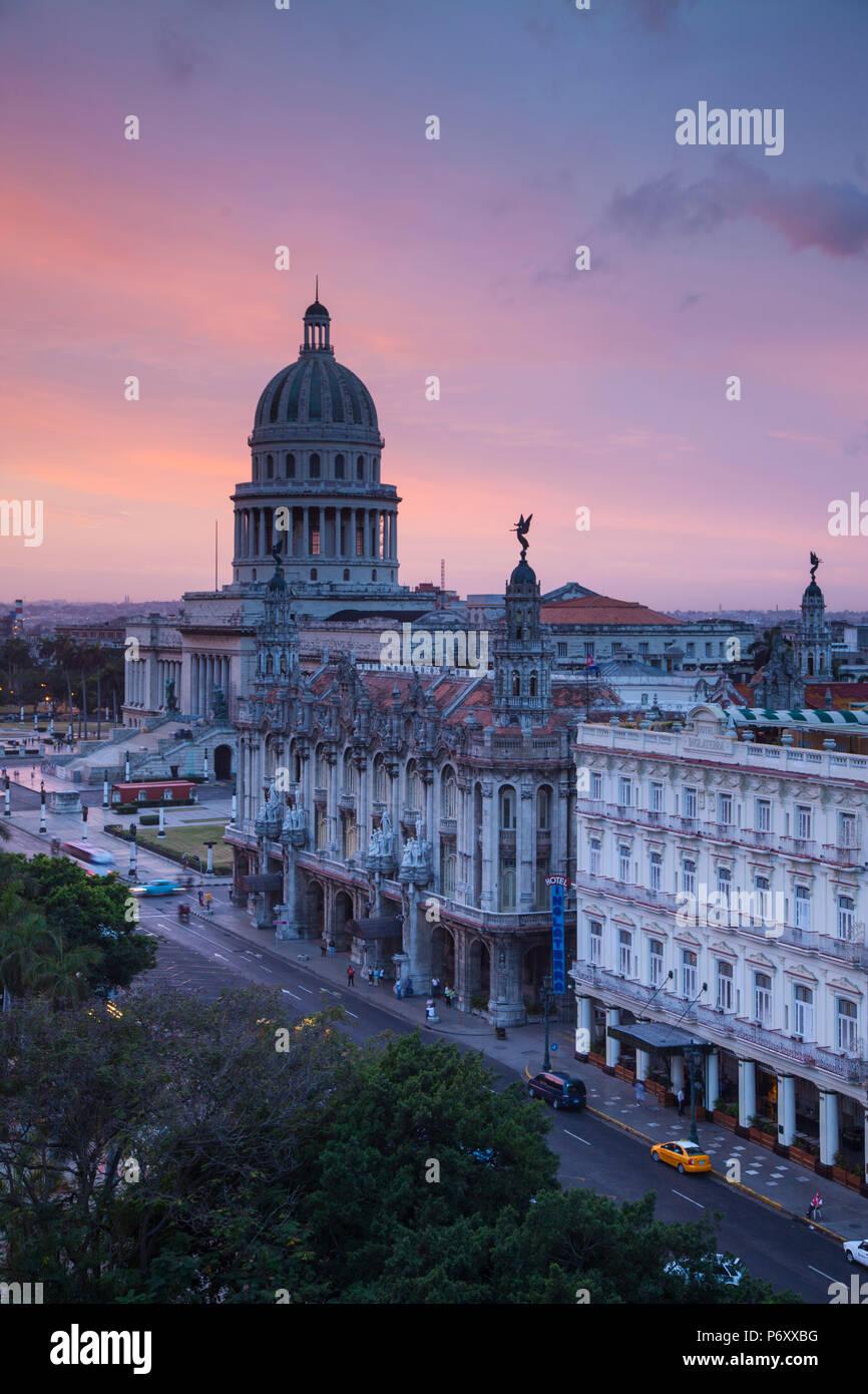Capitolio, Gran Teatro and Inglaterra Hotel, Havana, Cuba - Stock Image