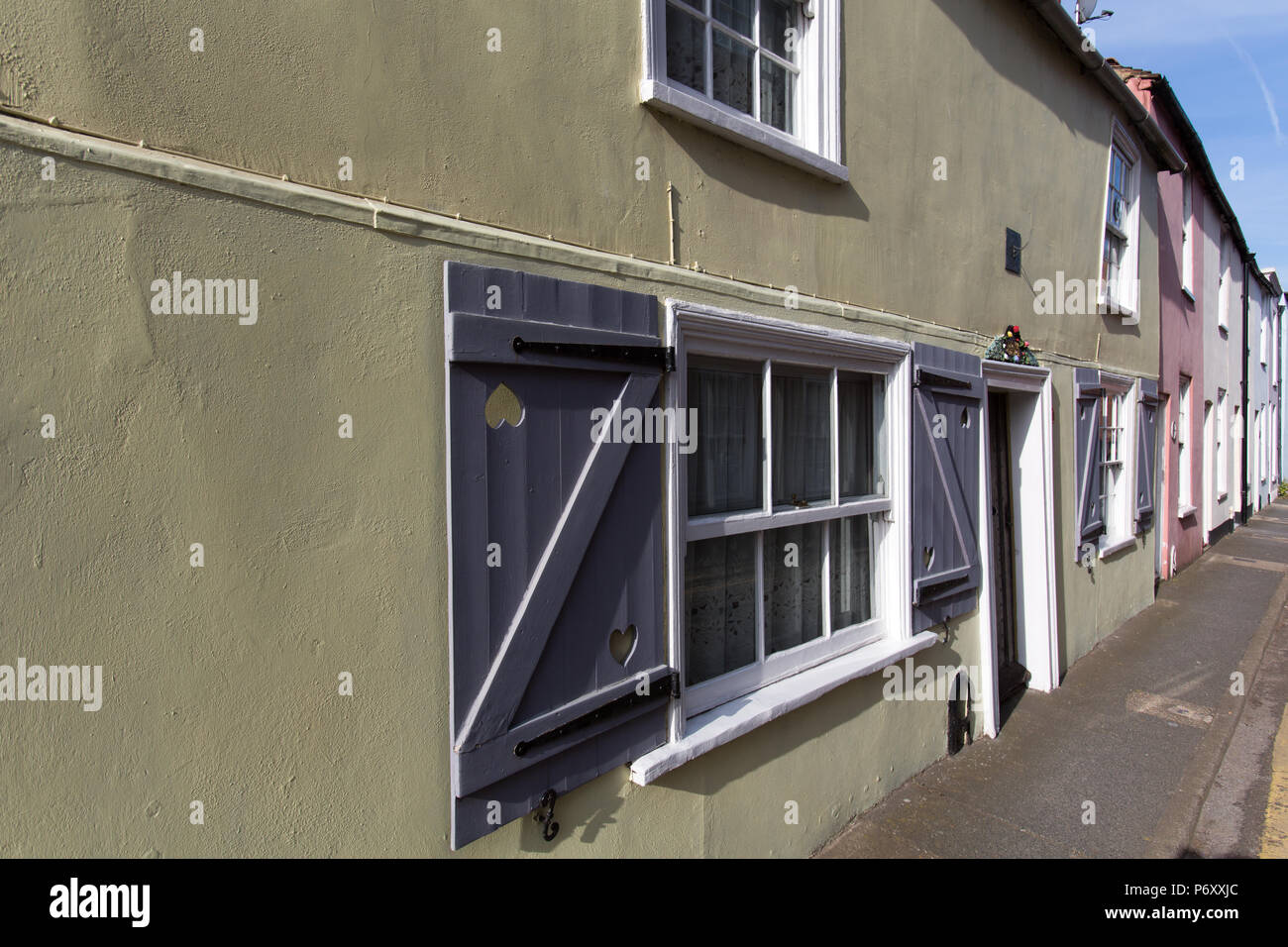 City of Canterbury, England. Picturesque view of Grade II listed houses on Canterbury's Ive Lane, with the Carolean Cottage in the foreground. Stock Photo