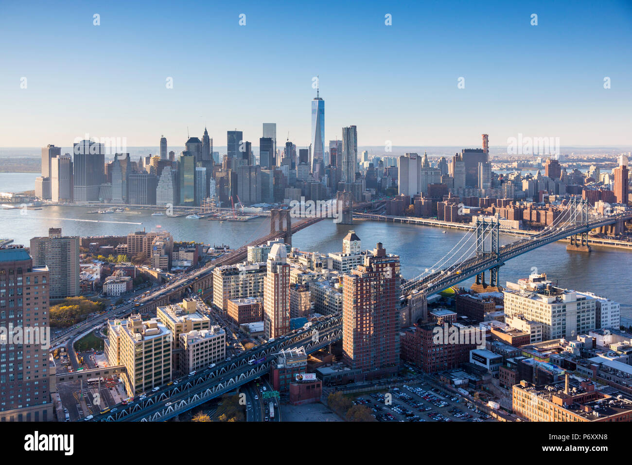 Downtown Manhattan and Brooklyn, New York City, USA - Stock Image