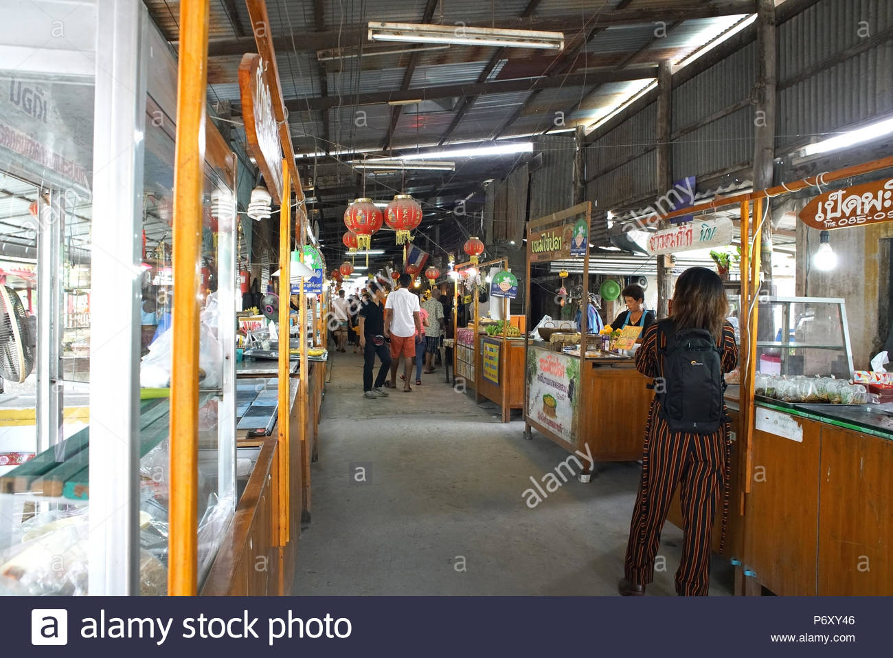 Klong Suan 100 years ancient market, the famous antique market in Chachoengsao province,Thailand - Stock Image