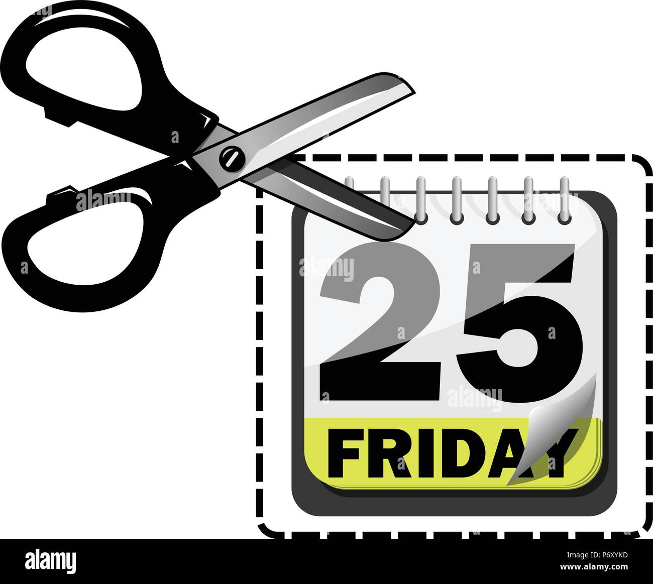 Scissor Cutting Coupon At Black Friday Isolated Stock Vector Art