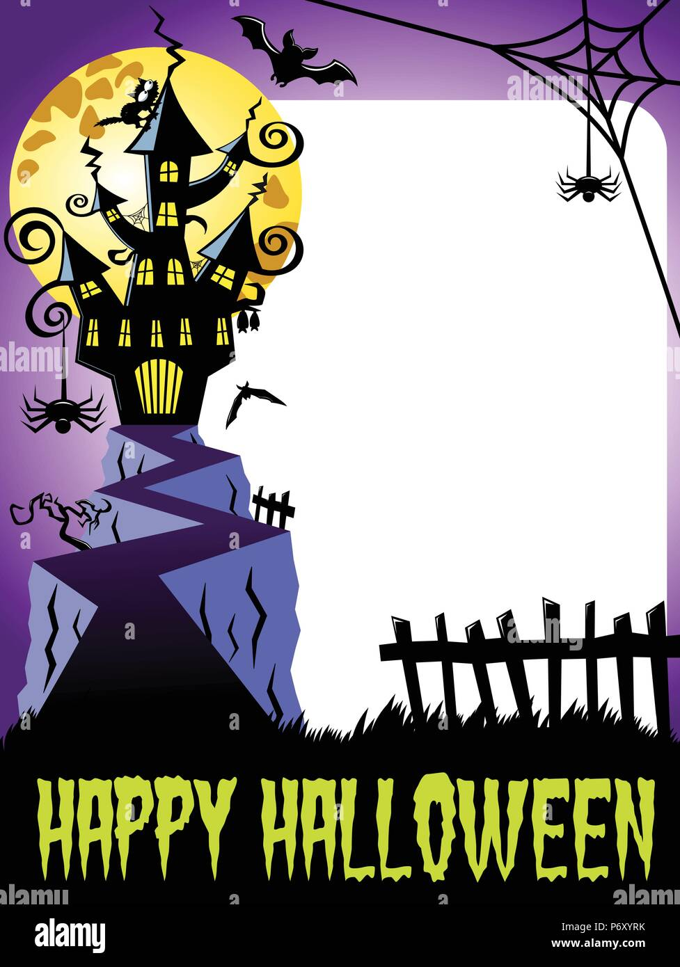 happy halloween photo frame vertical featuring haunted castle and