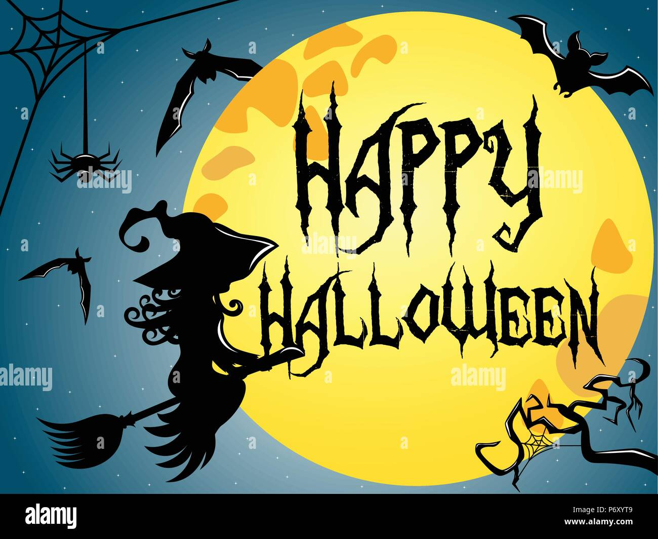 Silhouette Of Young Witch Flying On A Broom Against Full Moon With Happy Halloween Text Superimposed Stock Vector Image Art Alamy