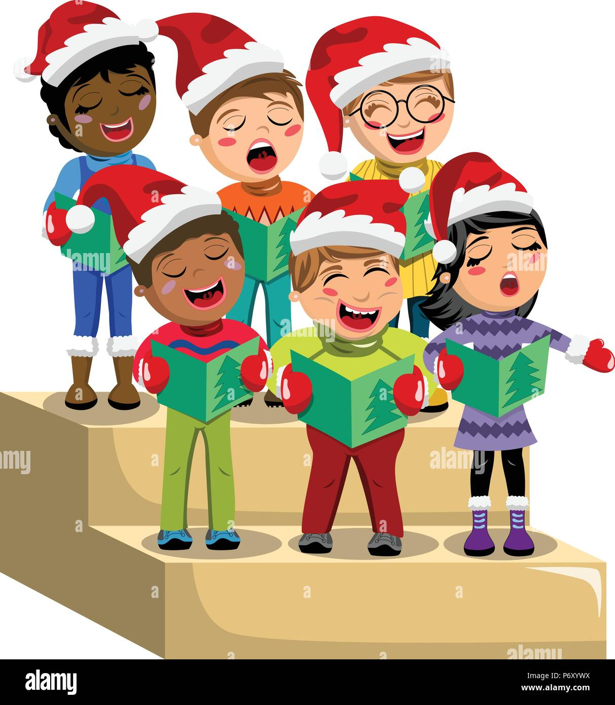 Lighted 8 Song Musical Holiday Christmas Carolers Choir: Multicultural Kids Wearing Xmas Hat And Singing Christmas