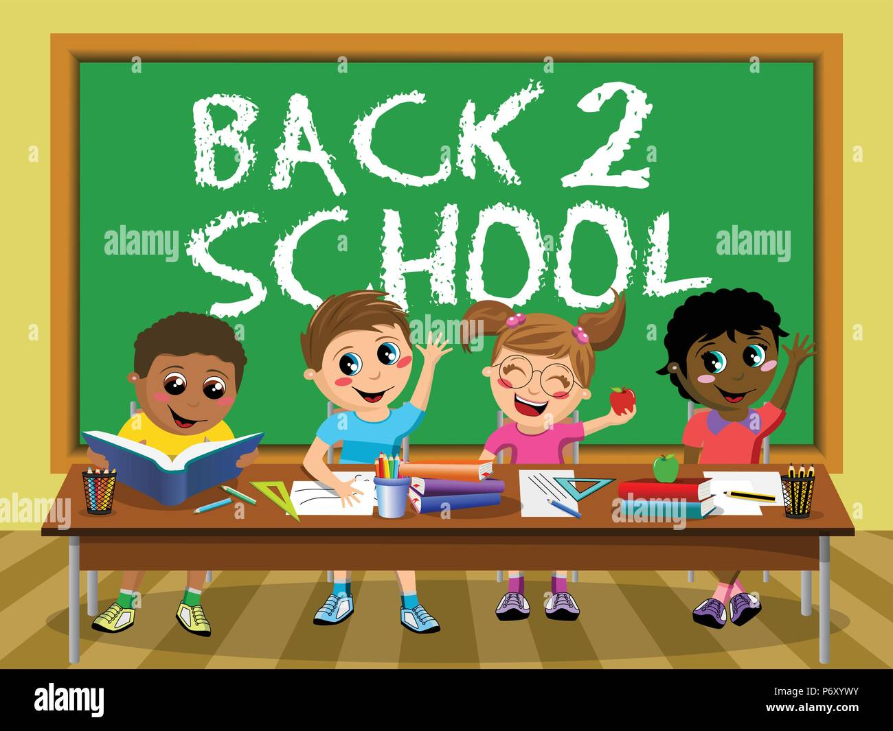 Back to School on blackboard and Happy diligent kids or children sitting at desk - Stock Vector