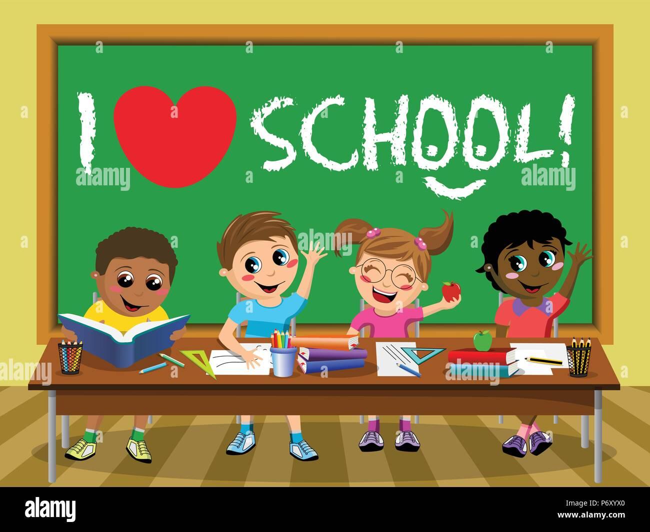 I love school on blackboard and Happy diligent kids or children sitting at desk - Stock Vector