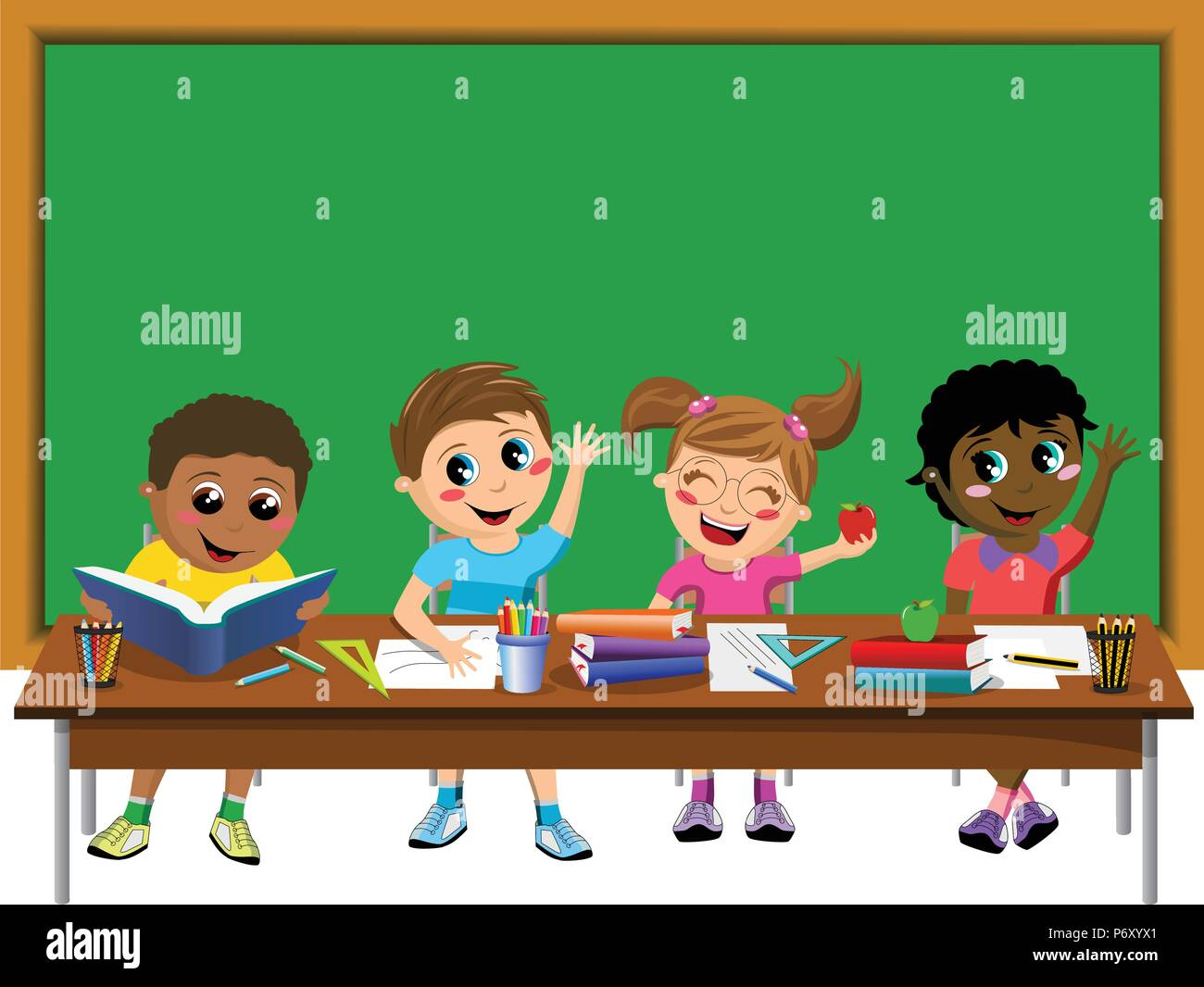 Happy diligent kids or children sitting at desk in front of blank blackboard isolated - Stock Vector