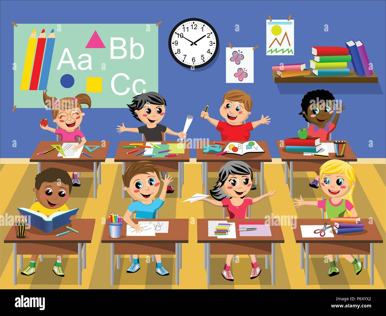 Happy kids or children sitting at desk in the classroom at school - Stock Vector