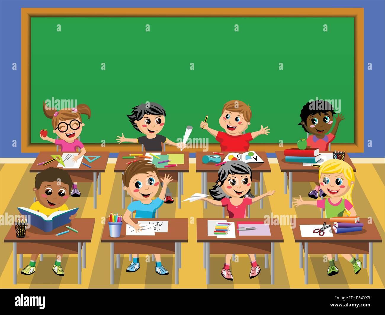 Happy kids children desk school blank blackboard - Stock Vector