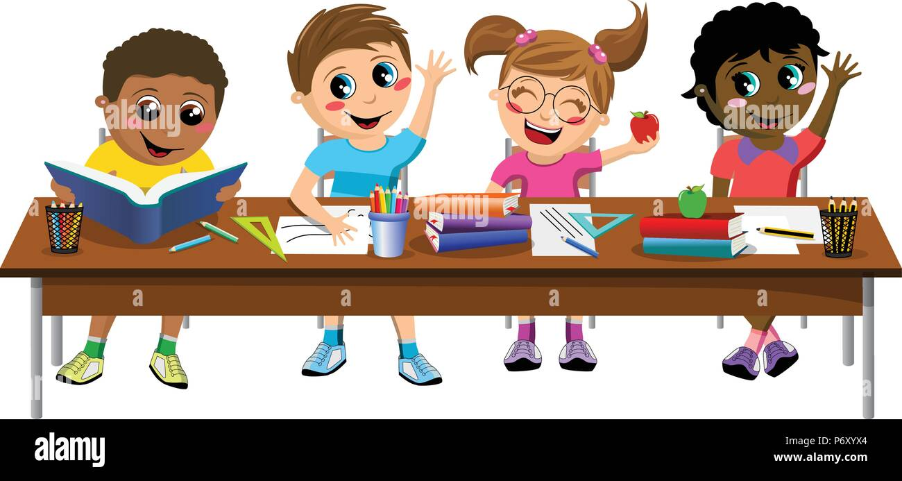Happy diligent kids or children sitting at desk at school isolated - Stock Vector