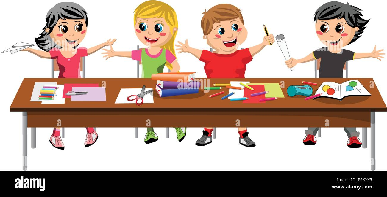 Happy brat kids or children sitting and playing at desk school isolated - Stock Vector