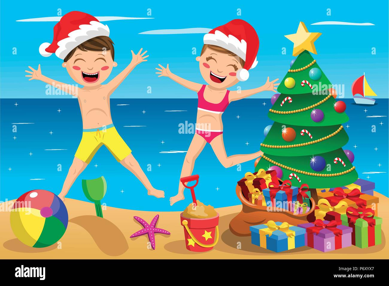 Christmas In Australia Cartoon.Happy Kids Wearing Swimsuit And Xmas Hat Playing And Jumping