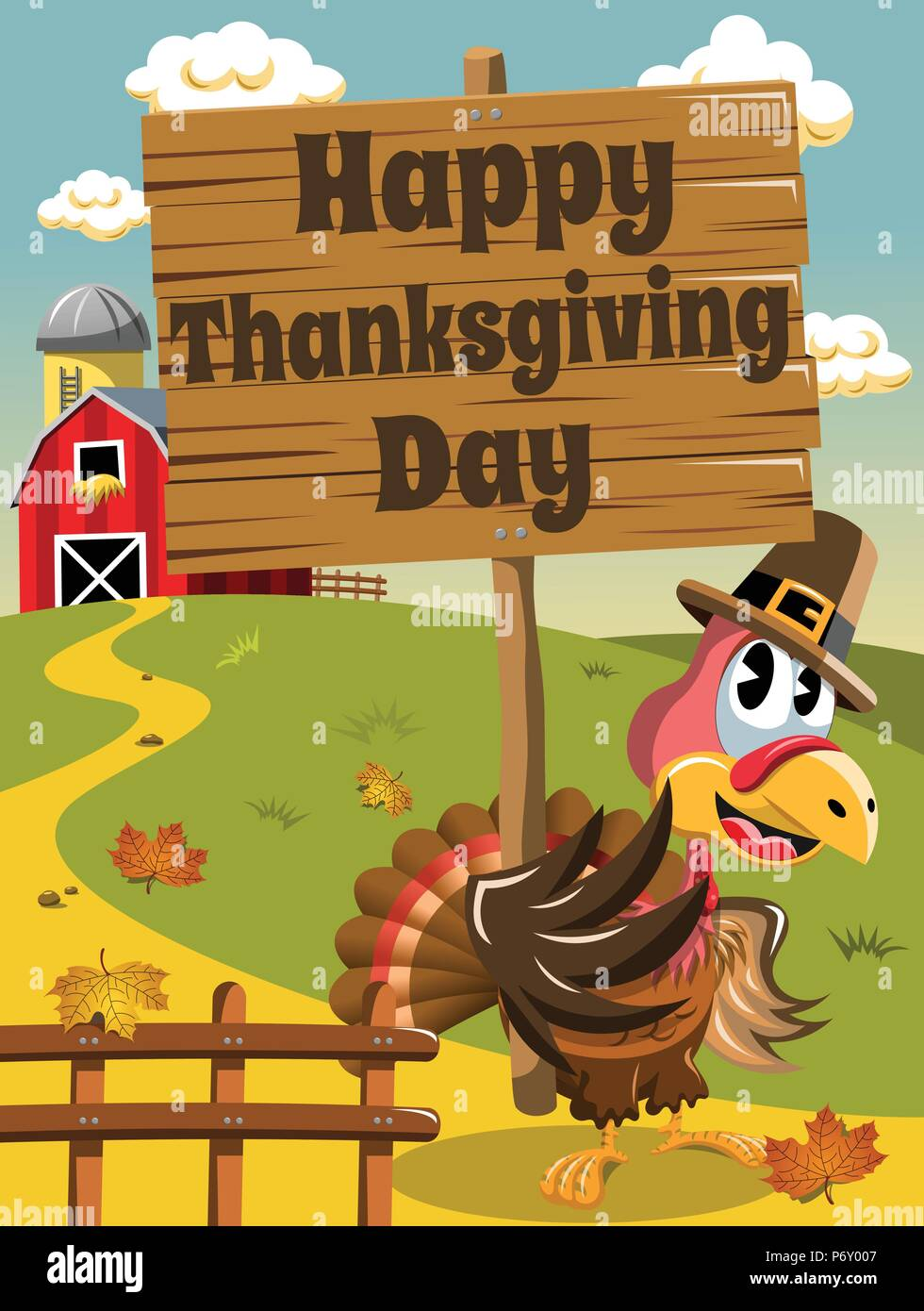 Thanksgiving Day Background Pilgrim Turkey Holding Wooden Banner In The Countryside Stock Vector Image Art Alamy