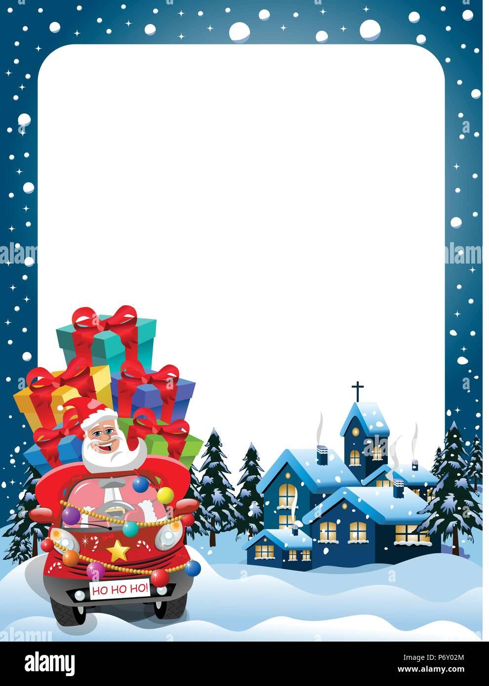 Xmas Frame with Santa Claus driving car full of gifts at xmas night ...