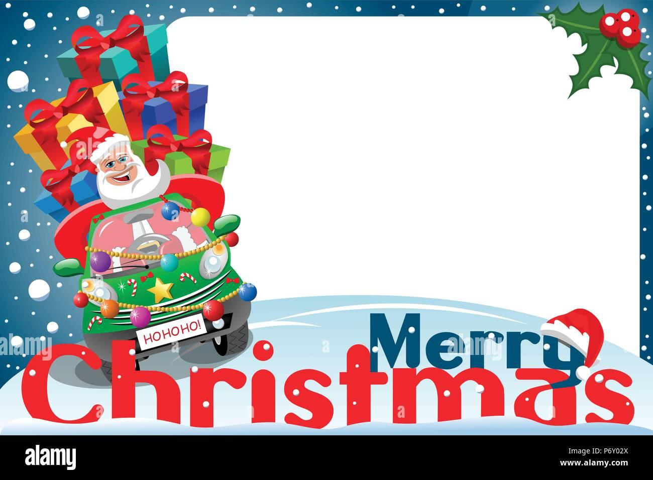 Christmas frame with santa claus driving car full of gifts at xmas ...