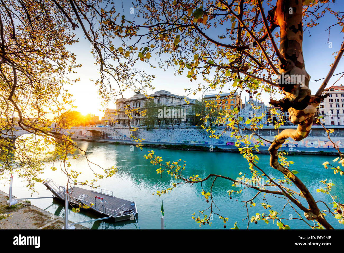 Italy, Rome, law court reflecting on Tevere river - Stock Image