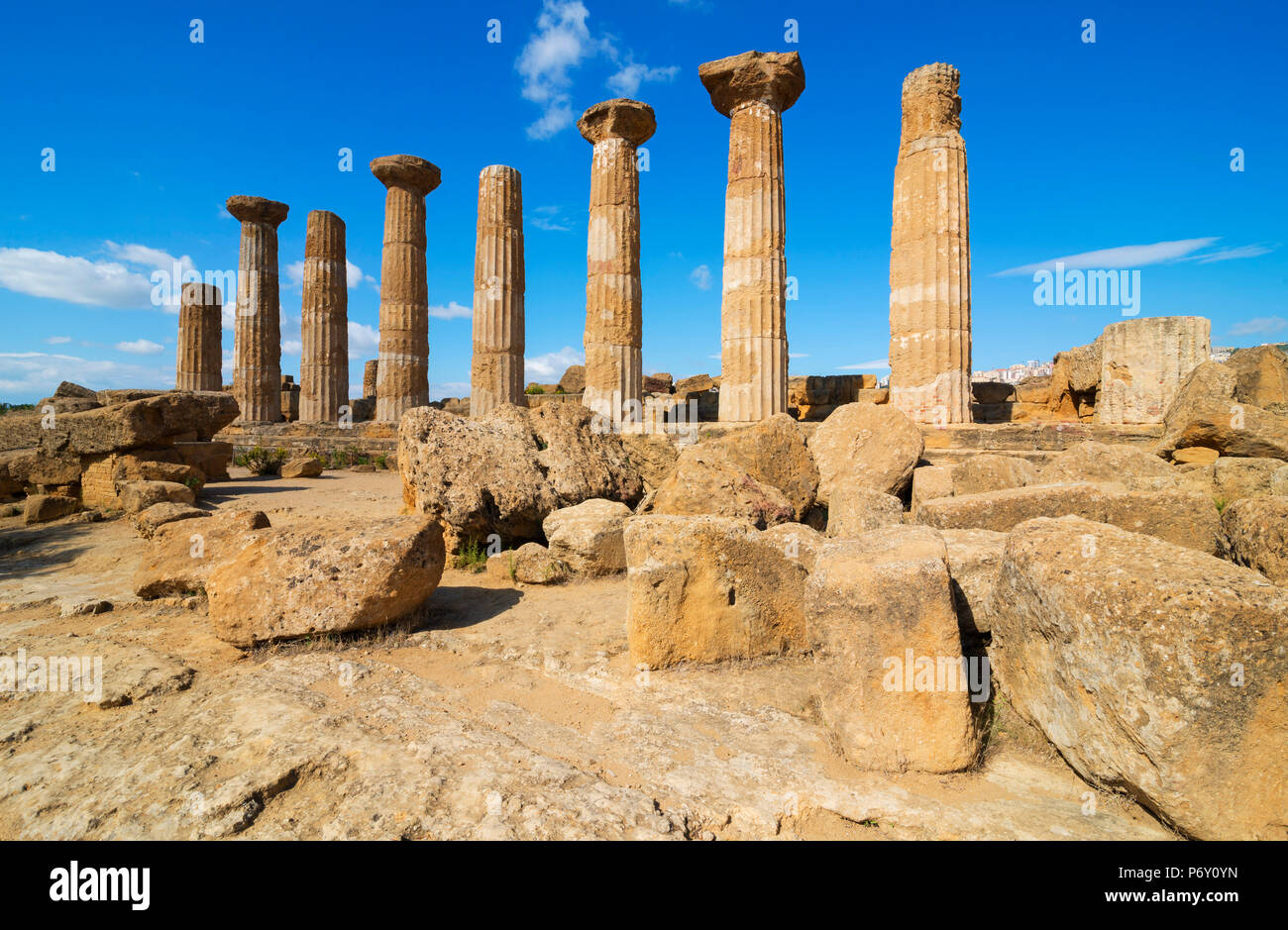 Remains of Temple of Heracles, Valley of the Temples, Agrigento, Sicily, Italy - Stock Image