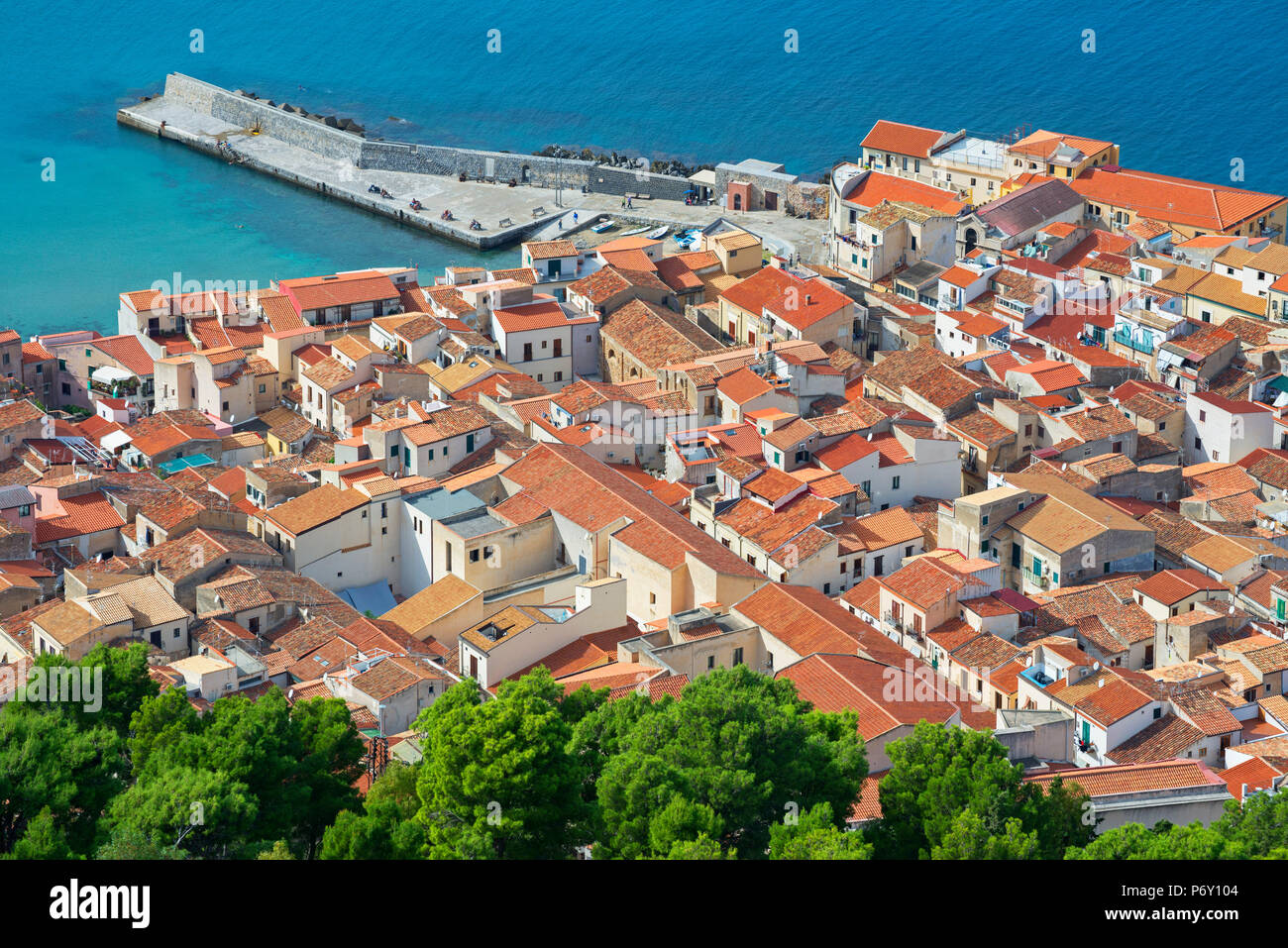 Top view of Cefalu from La Rocca, Cefalu, Sicily, Italy, Europe - Stock Image