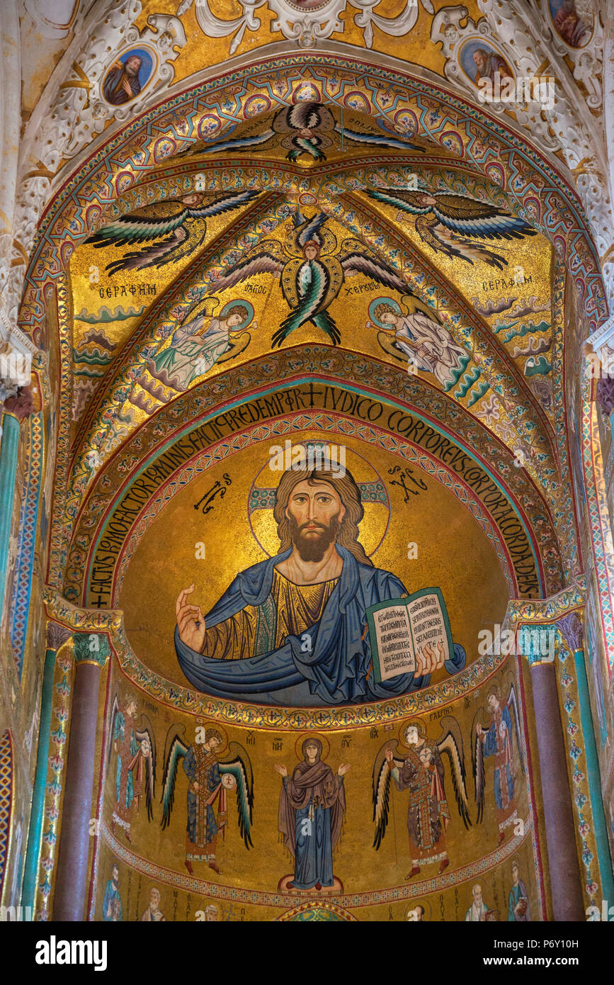 Christ Pantocrator mosaic inside Cathedral San Salvatore, Cefalu, Sicily, Italy, Europe - Stock Image