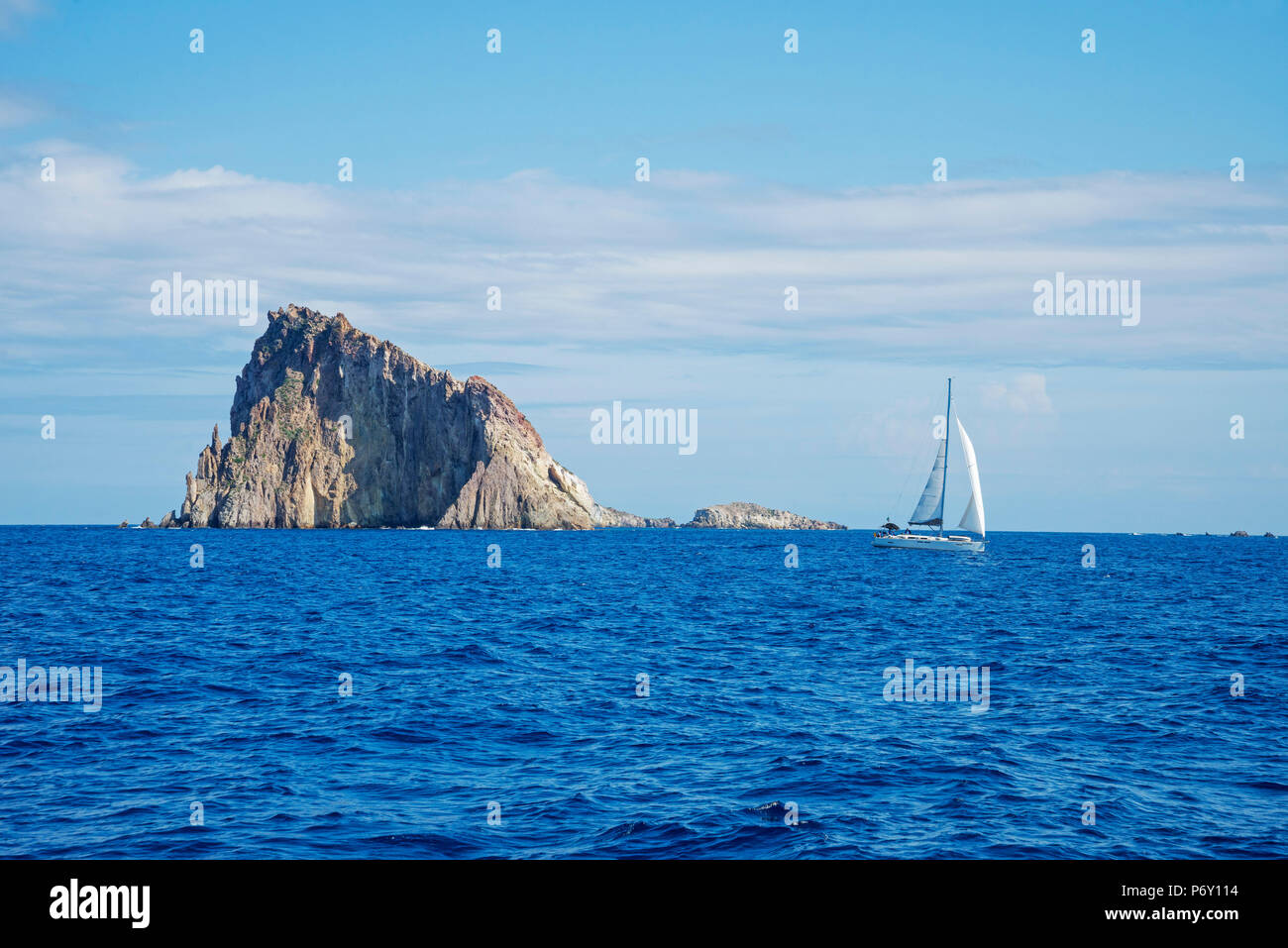 Sailing at Basiluzzo Cliff, Panarea, Aeolian Islands, Sicily, Italy, Europe, - Stock Image