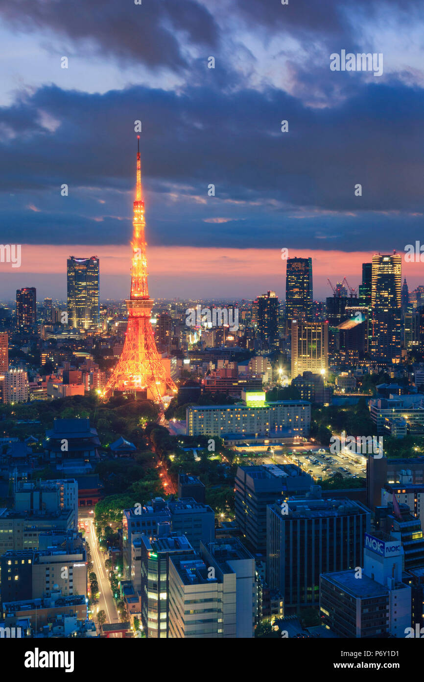 Japan, Tokyo, Tokyo Skyline and Tokyo Tower - Stock Image