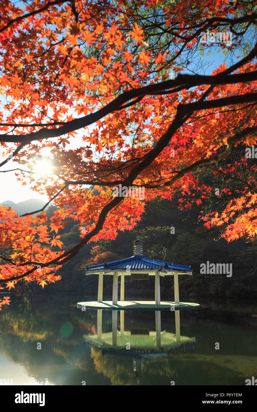 South Korea, Jeolla Do, Naejangsan National Park, Naejangsan Pond and  Wuhwajeong Pavillion - Stock Image