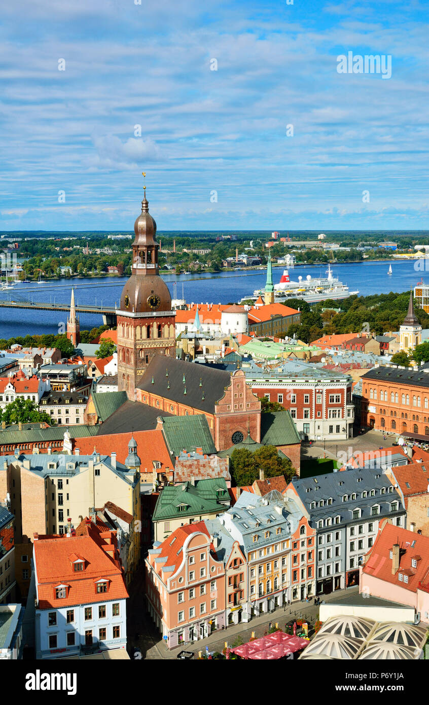 The Old Town, a Unesco World Heritage Site, and the Daugava river. Riga, Latvia - Stock Image