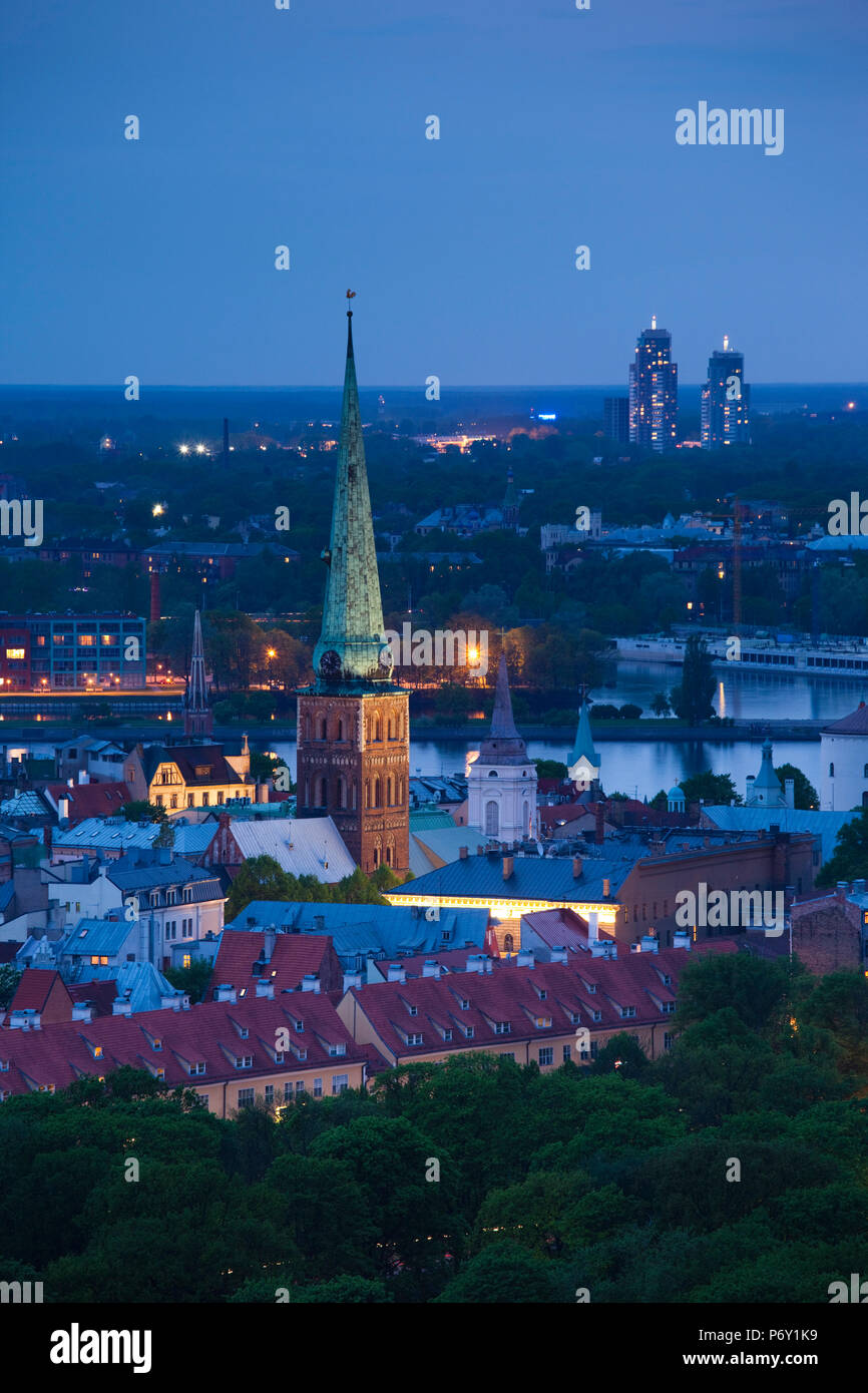 Latvia, Riga, elevated view of Old Riga, Vecriga, evening - Stock Image