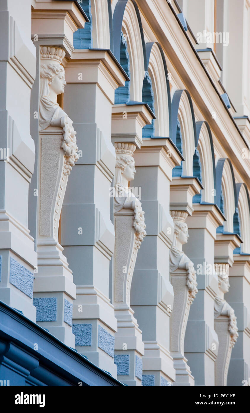 Latvia, Riga, Old Riga, Vecriga, Chekov Theater, building detail - Stock Image