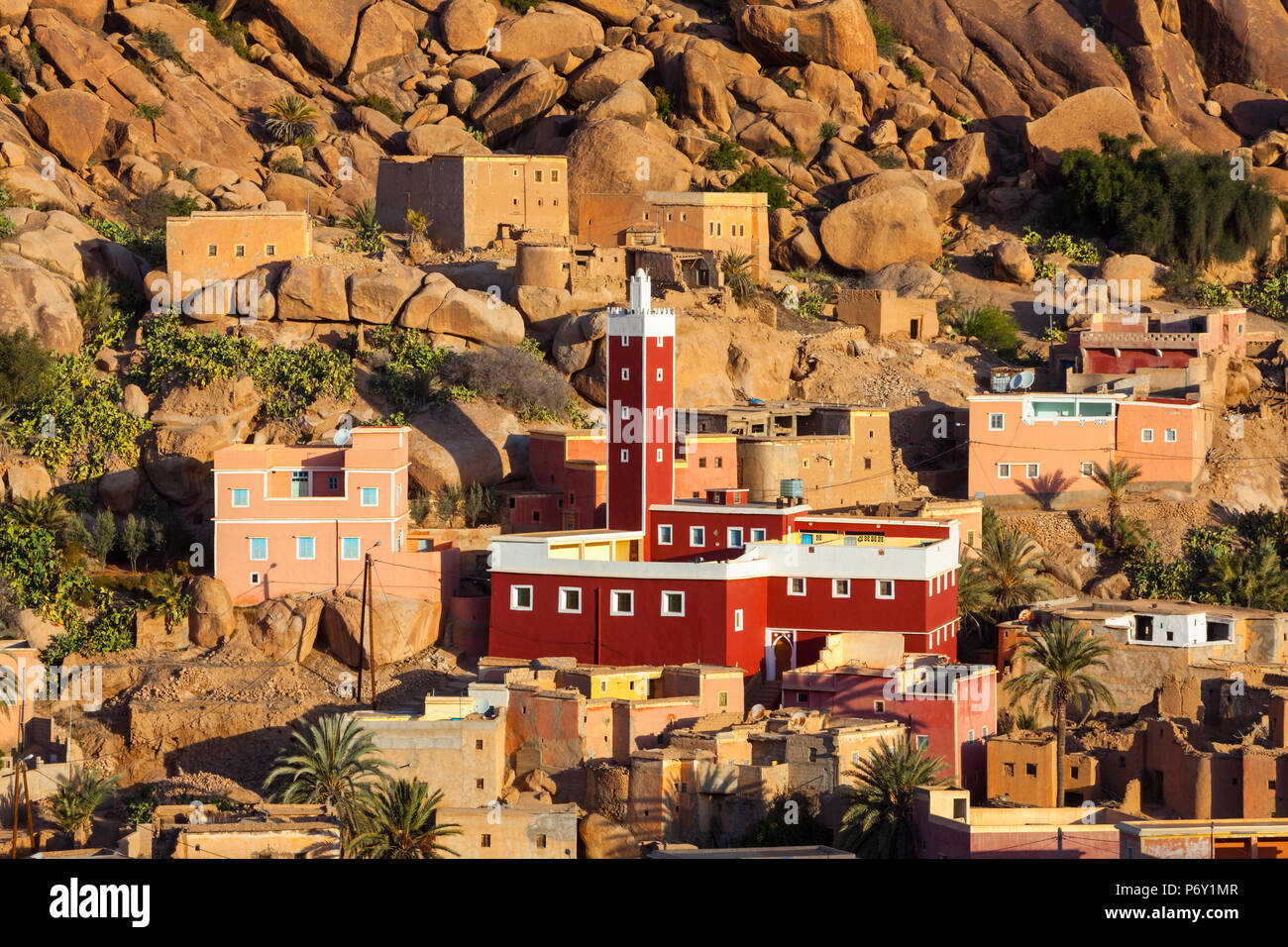 Elevated view over the Red Mosque of Adai, Tafraoute, Anti Atlas, Morocco - Stock Image