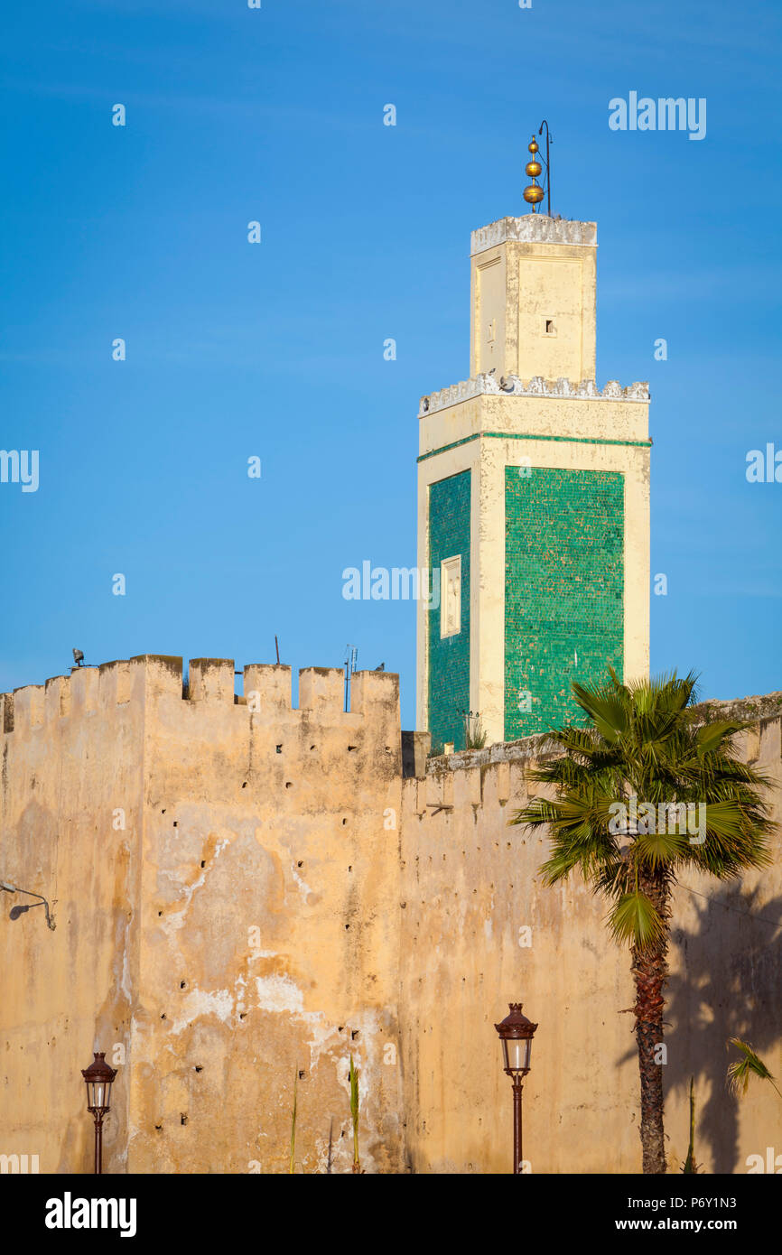 Minoret & walls of the Royal Complex, Medina, Meknes, Morocco, North Africa, Africa, RF - Stock Image