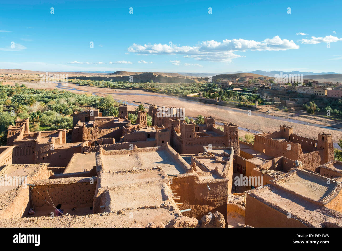 Morocco, Sous-Massa (Sous-Massa-Draa), Ouarzazate Province. View from uppter village inside of Ksar of Ait Ben Haddou (Ait Benhaddou). - Stock Image