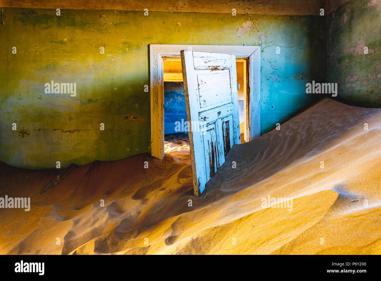 Kolmanskop, Luderitz, Namibia, Africa. Inside of an abandoned building. - Stock Image