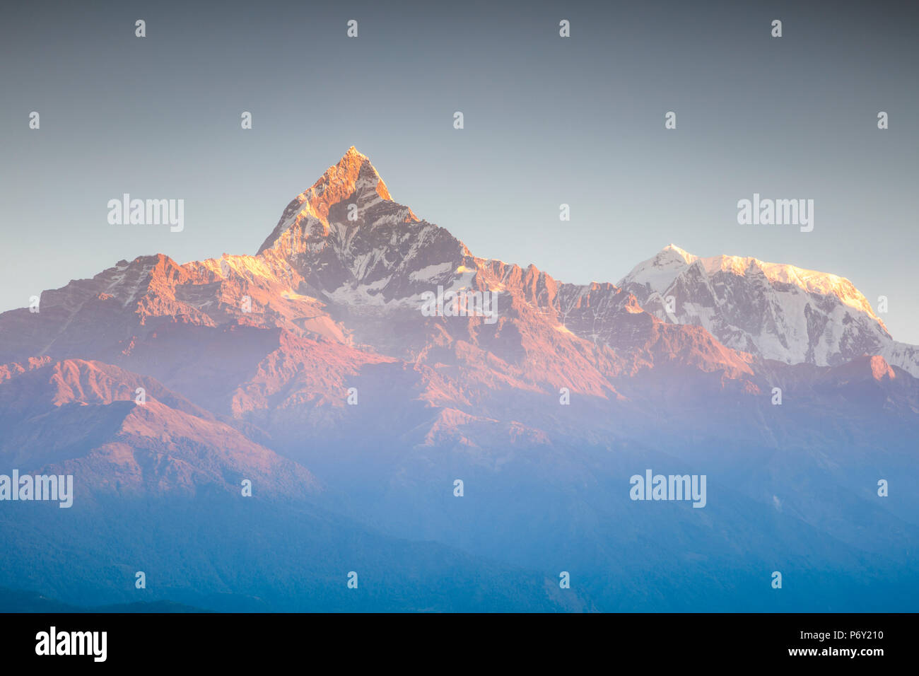 Annapurna mountain range at sunrise, Pokhara, Nepal - Stock Image