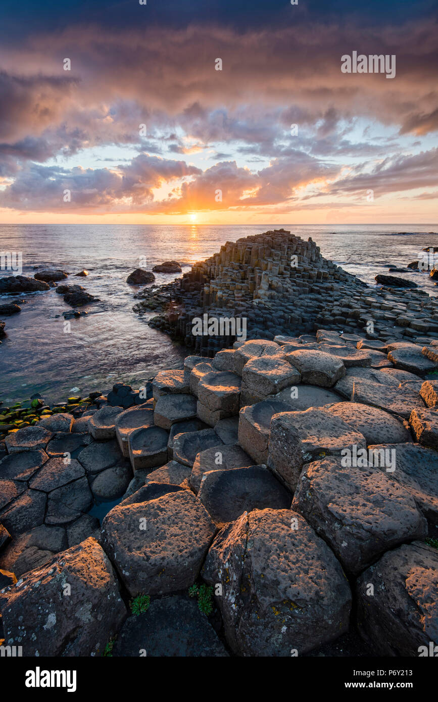 The Giant's Causeway, County Antrim, Ulster region, Northern Ireland, United Kingdom. - Stock Image