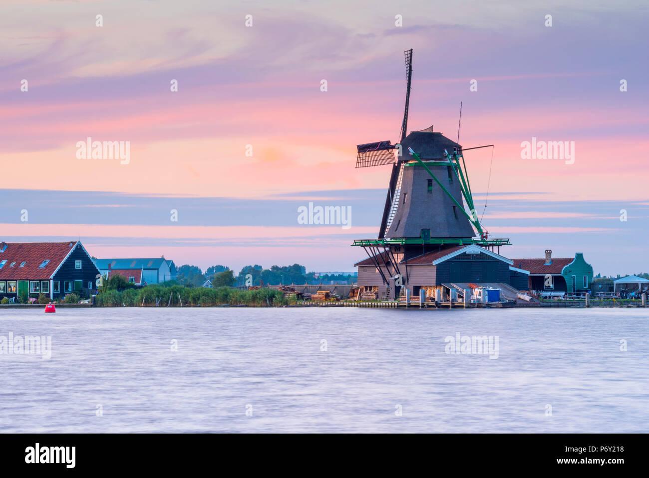 Netherlands, North Holland, Zaandam, Zaanse Schans, The Young Sheep (Het Jonge Schaap) Sawmill - Stock Image