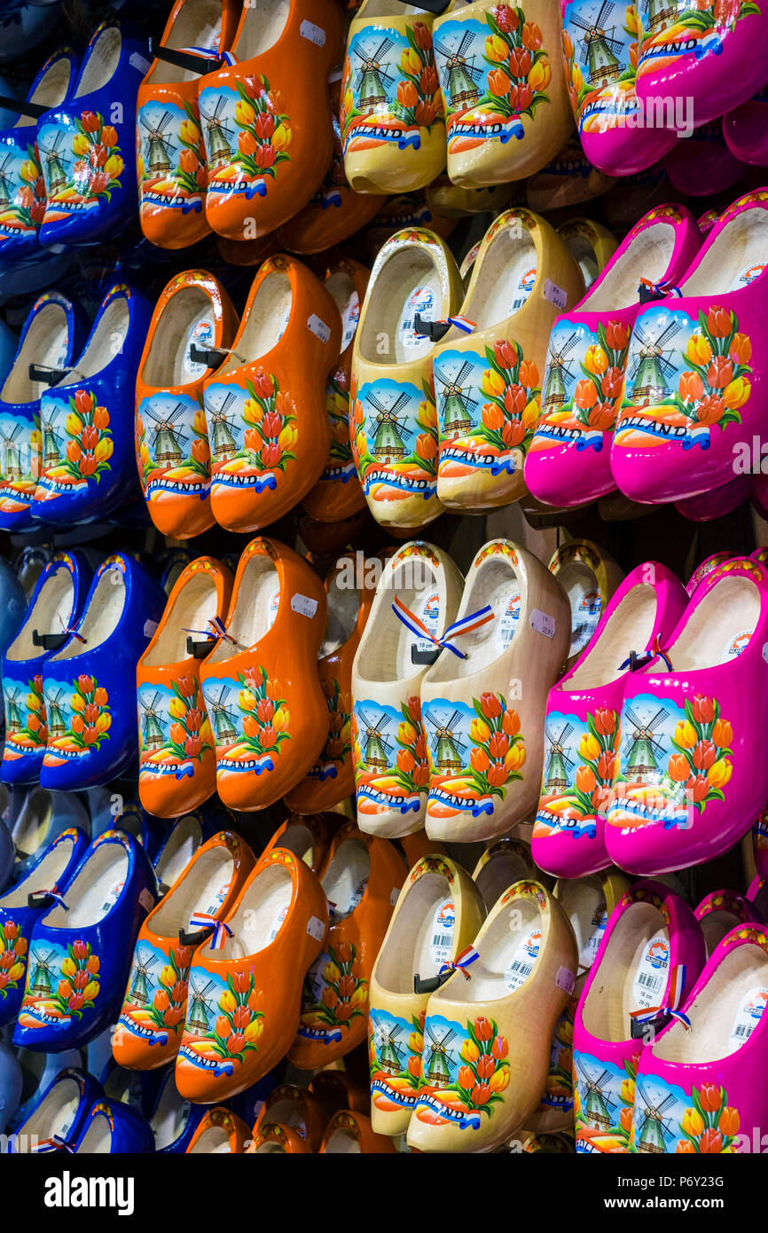 Netherlands, North Holland, Zaandam. Wooden shoes, clogs for sale in the village of Zaanse Schans. - Stock Image