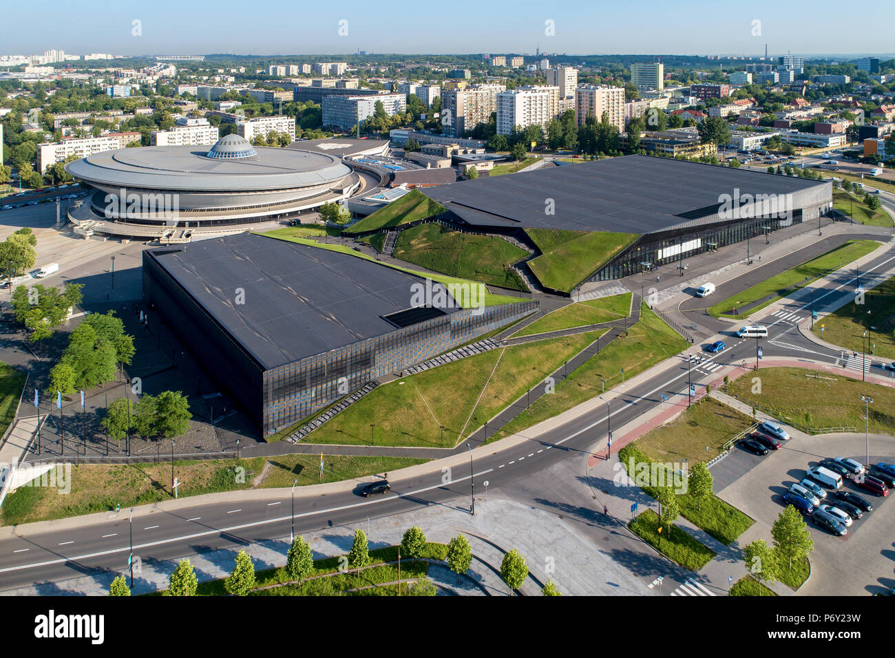 Aerial view of Katowice city center with spodek (saucer) sport and entertainment venue, artificial canyon , international conference center and blocks Stock Photo