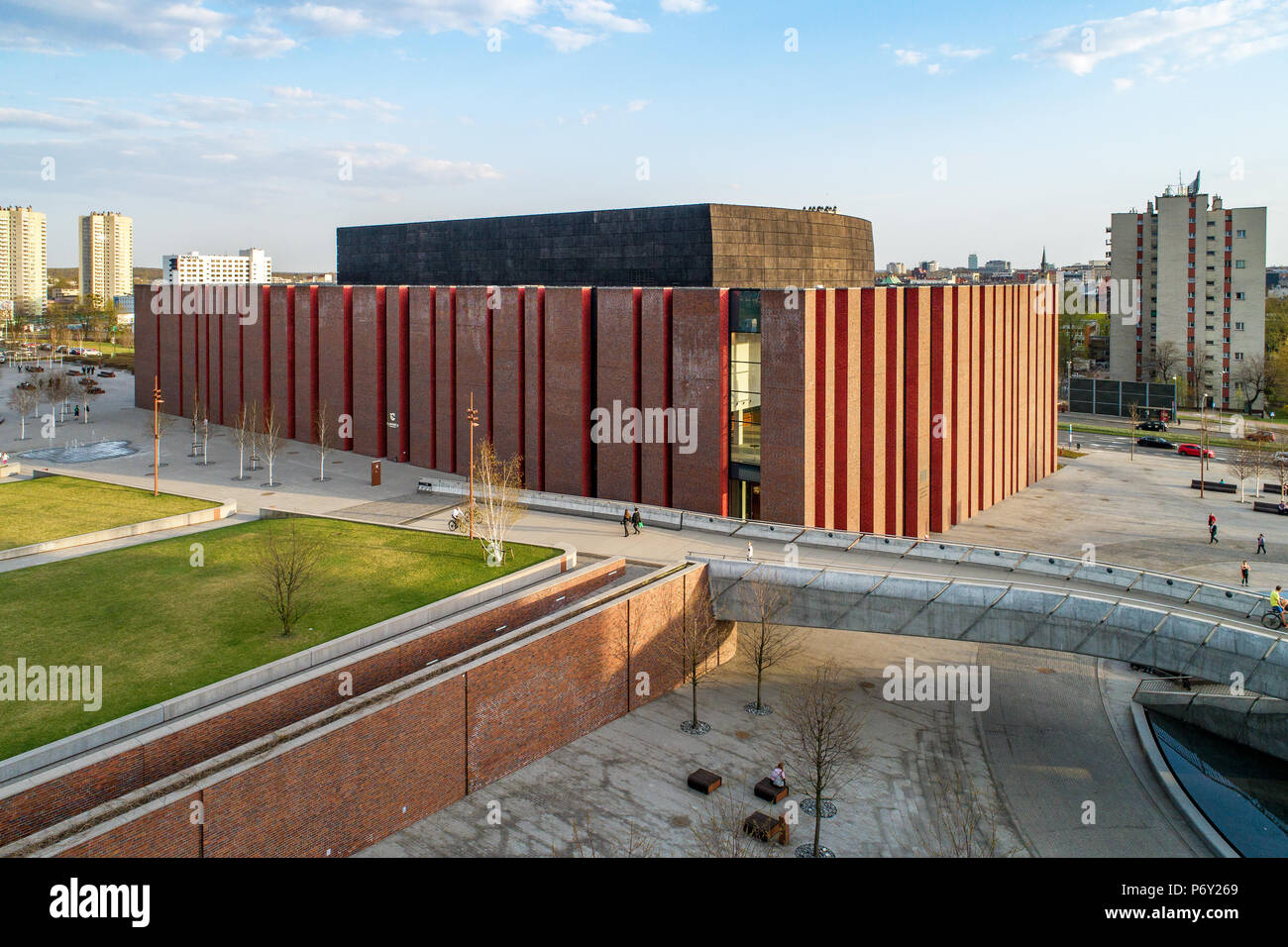 Katowice, Poland - April 12, 2018: Modern concert hall of the National Symphonic Orchestra of Polish Radio (NOSPR) in Katowice, Poland. Aerial view. Stock Photo