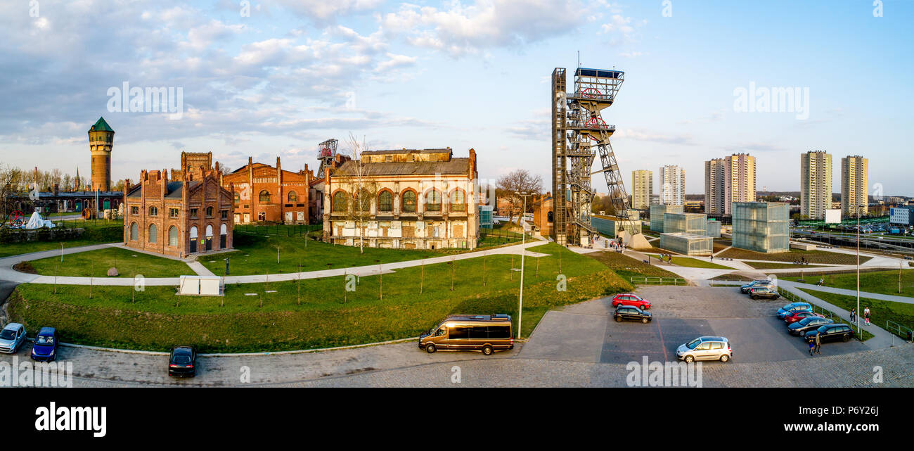 Wide panorama of contemporary Katowice city center  in Poland with old buildings, lift and facilities of a former coal mine Stock Photo