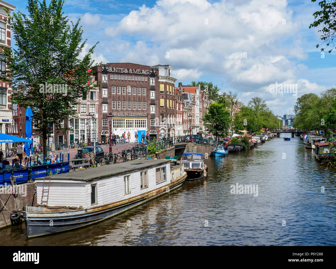 Prinsengracht Canal, Amsterdam, North Holland, The Netherlands - Stock Image