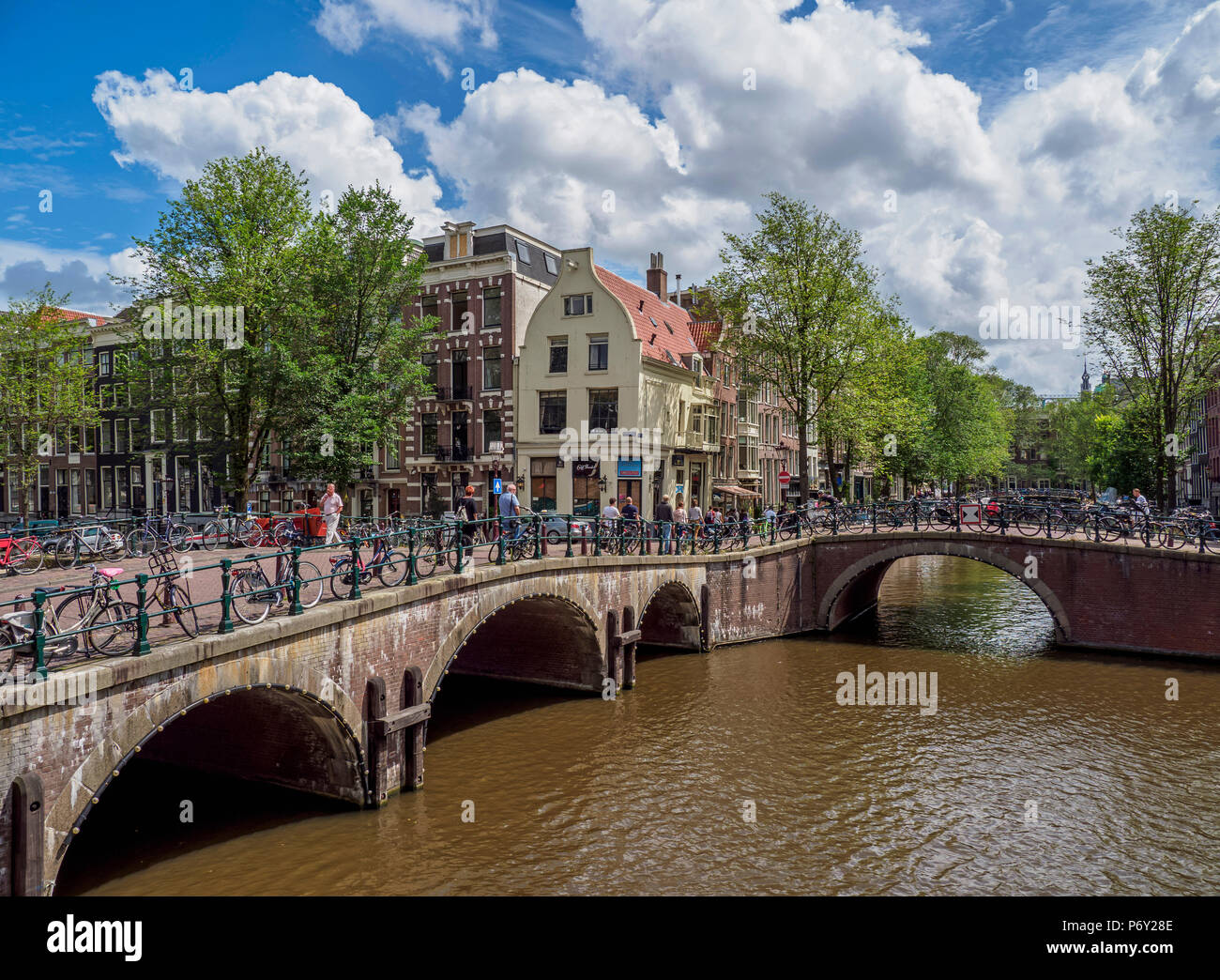 Keizersgracht and Leliegrach Canals and Bridges, Amsterdam, North Holland, The Netherlands Stock Photo