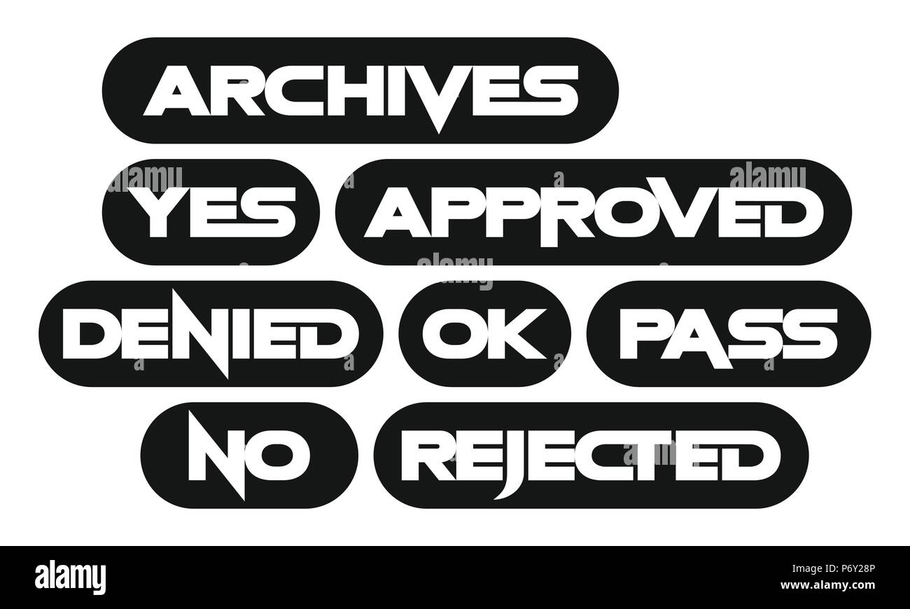 Set of most common stamp words, monochrome, archives, yes, approved, denied, ok, pass, no, rejected - Stock Image