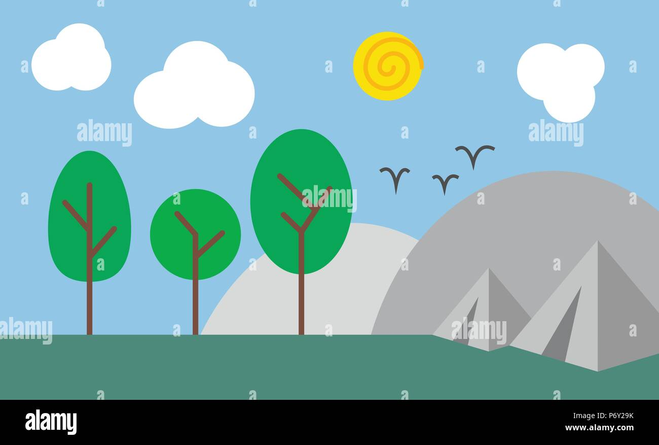 Abstract camping scene in nature, flat Illustration minimalist design, basic colors - Stock Vector