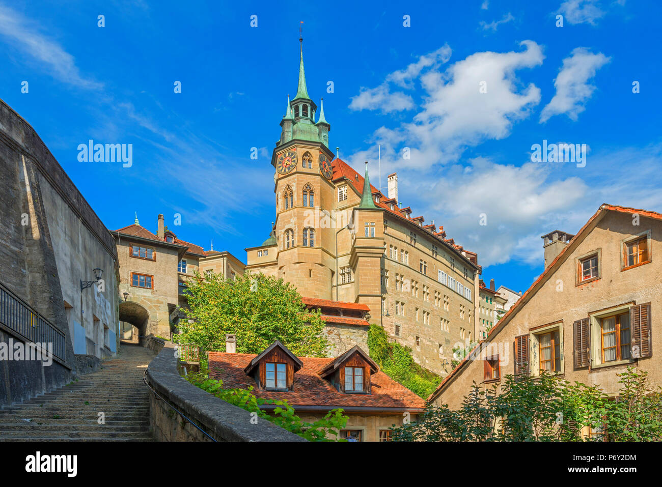 Town hall, Fribourg, Fribourg, Switzerland - Stock Image